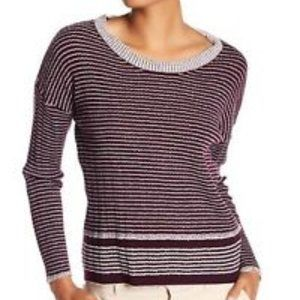 James Perse WVWS3742 Vintage Stripe Sweater Wine